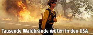 Feuerwehrmann im einsatz gegen Waldbrände in Kalifornien