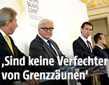 EU-Kommissar Johannes Hahn und die Außenminister Deutschlands, Österreichs, Serbiens und Mazedoniens, Frank Walter Steinmeier, Sebastian Kurz, Ivica Dacic und Nikola Poposki