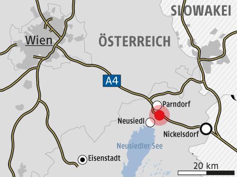 Karte zeigt den Ort der Flüchtlingskatastrophe