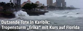 """Tropensturm """"Erika"""" in Santo Domingo, Dominikanische Republik"""