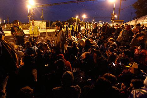 Flüchtlinge am Bahnhof Keleti in Budapest