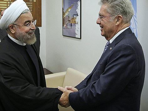 Iranischer Präsident  Hassan Rohani mit österreichischen Präsidenten Heinz Fischer