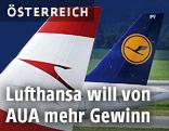 Lufthansa- und Austrian-Flugzeug