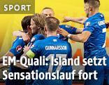 Islands Spieler jubeln im EM-Qualifikationsspiel gegen die Niederlande
