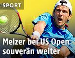 Jürgen Melzer schlägt eine beidhändige Rückhand
