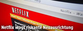 Screenshot der Netflix-Webseite