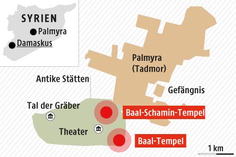 Eine Grafik der Lage der zerstörten Tempel in Palmyra