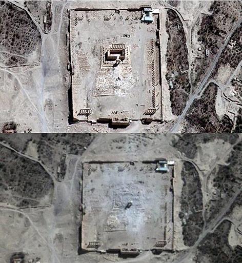 Satellitenbilder von Palmyra in Syrien
