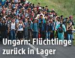 Flüchtlinge auf ungarischer Autobahn