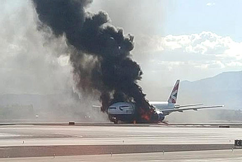 Brennendes Flugzeug in Las Vegas