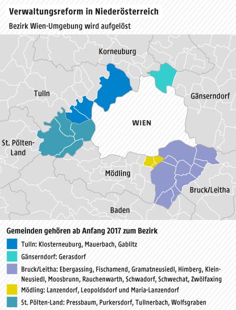 Karte Wien Niederosterreich.Bezirk Wien Umgebung Wird Aufgelost News Orf At