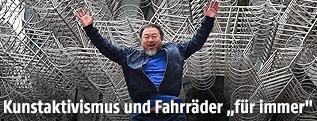 Der chinesische Künstlers Ai Weiwei springt vor einer seiner Skulpturen in die Luft