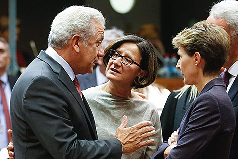 Innenministerin Johanna Mikl-Leitner im Gespräch mit  Dimitris Avramopoulos und Simonetta Sommaruga