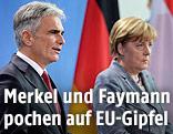 Bundeskanzler Werner Faymann und die deutsche Kanzlerin Angela Merkel