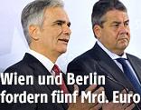 Bundeskanzler Werner Faymann (SPÖ) und Deutschlands Vizekanzler Sigmar Gabriel (SPD)