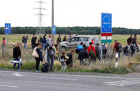 Flüchtlinge an der österreichischen Grenze zu Ungarn