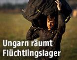 Flüchtling in einem Flüchtingslager in Ungarn