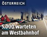 Migranten am Wiener Westbahnhof