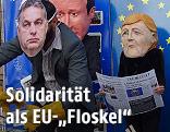 NGO-Aktion in Brüssel zeigt Orban, Cameron, Merkel und Hollande als Pappfiguren