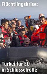 Syrer auf einem Flüchtlingsboot vor der griechischen Küste