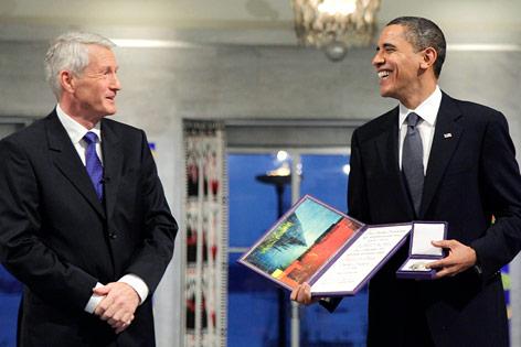 Thorbjorn Jagland und Barack Obama