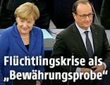 Deutsche Bundeskanzlerin Angela Merkel und Frankreichs Präsident Francois Hollande im Europaparlament