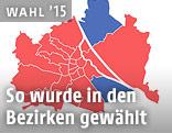 Karte zeigt die Hochrechnung in Bezug auf die Wiener Stadtbezirke