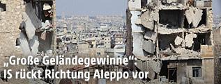 Zerstörte Häuser in der syrischen Stadt Aleppo