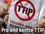 Schild mit dem durchgestrichenen Wort TTIP