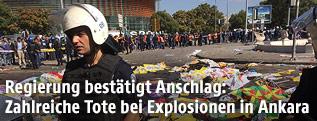Türkischer Polizist vor Anschlagsort