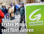 Grüne-Wahlplakat, im Hintergrund Passanten