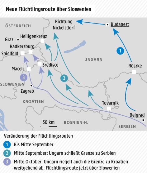 Karte zu Flüchtlingsrouten