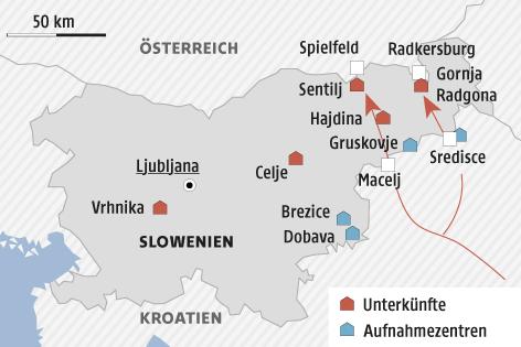 Eine Grafik zeigt Flüchtlingsunterkünfte und Aufnahmezentren in Slowenien