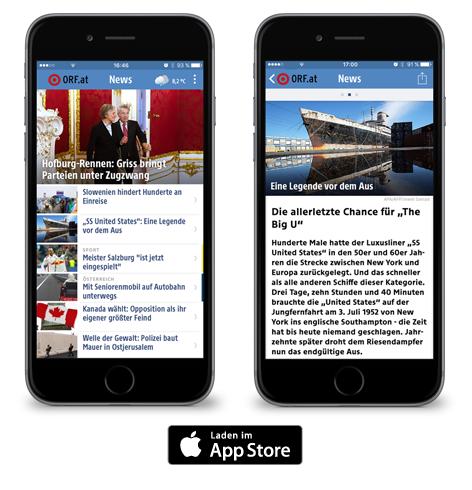 Beispielbilder für die News-App von ORF.at für Apple iPhone