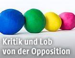 Plastilinkugeln in den Farben der Oppositionsparteien