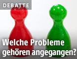 Roter und grüner Spielstein