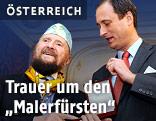 """Archivbild aus dem Jahr 2010: Der Künstler Ernst Fuchs (l.) mit dem """"Goldenen Ehrenzeichen für Verdienste um das Land Wien"""" sowie Kulturstadtrat Andreas Mailath-Pokorny"""