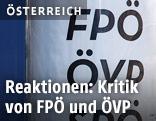 Plakat mit der Aufschrift ÖVP und FPÖ