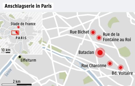 Karte zur Anschlagserie in Paris