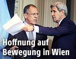 Der russische Außenminister Sergei Lawrow und sein amerikanischer Amtskollege John Kerry