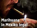 Cannabis-Raucher zündet einen Joint an