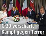 Deutschlands Kanzlerin Angela Merkel, US-Präsident Barack Obama, der britisch Prämierminister David Cameron und Frankreichs Außenminister Laurent Fabius beim G20-Gipfel