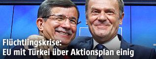 Türkischer Premierminister Davutoglu und EU-Ratspräsident Tusk