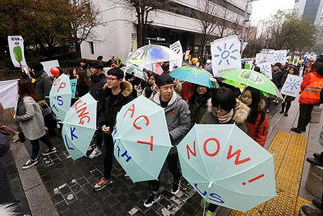 Demonstranten in Seoul, Südkorea