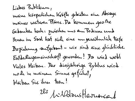 Brief von Nikolaus Harnoncourt