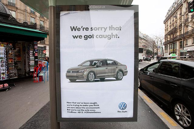 Guerilla-Plakat zur Klimakonferenz in Paris