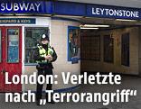 Polizist vor Londoner U-Bahn-Station