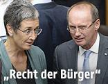Die Europa-Abgeordneten Ulrike Lunacek (Grüne) und Othmar Karas (ÖVP)