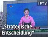 Bildschirm mit nordkoreanischer Nachrichtensendung