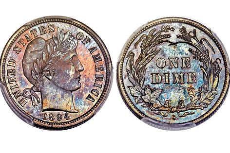 Amerikanische 10-Cent-Münze aus dem Jahr 1894